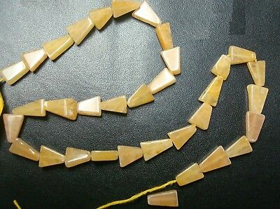 Natural Yellow Aventurine triangle shaped beads semiprecious stone beads  BS315