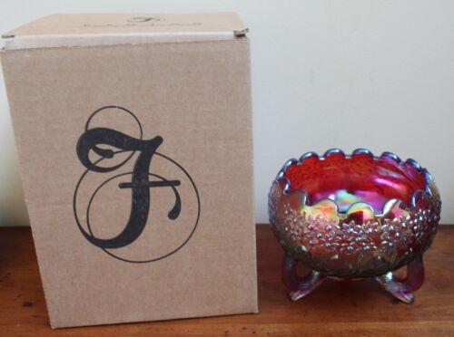 FENTON Three 3-Footed Bowl in Orange Tree Red Carnival Iridescent Glass with Box