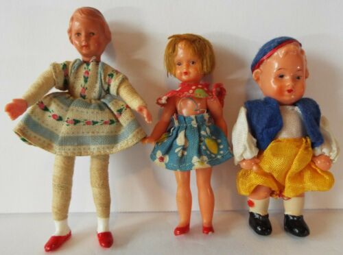Dollhouse Dolls Caco Girl & 2 Jointed Hard Plastic Children - Lot of 3