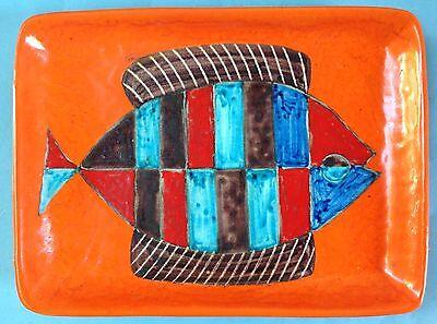 RAR: Vintage piatto decorato policromo Keramik Wandplatte Guido Gambone Italy~60
