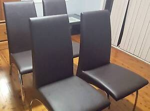 4 x brown faux leather and chrome dining chairs Mount Riverview Blue Mountains Preview