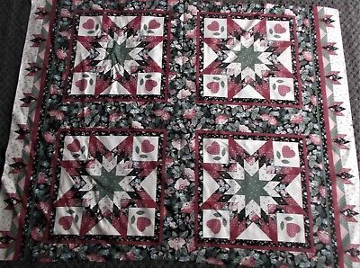 FABRIC PILLOW PANEL GEOMETRIC DESIGNS STAR FLOWERS HEARTS 4 SQUARES for sale  Shipping to India