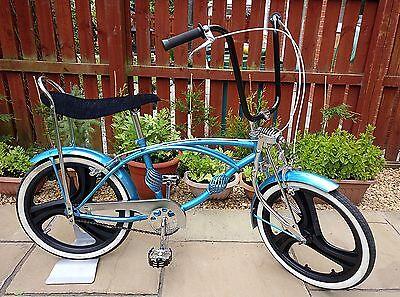 Custom Blue LOWRIDER USA MAG Wheels BEACH CRUISER Chopper Bike BMX Bicycle RARE