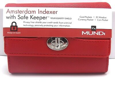 FAT WALLET Mundi INDEXER Women ID Card Slots Ladies Clutch RFID Red I875X