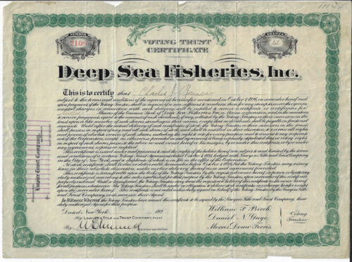 MAINE 1923 Deep Sea Fisheries Inc Stock Voting Trust Certificate Rockland