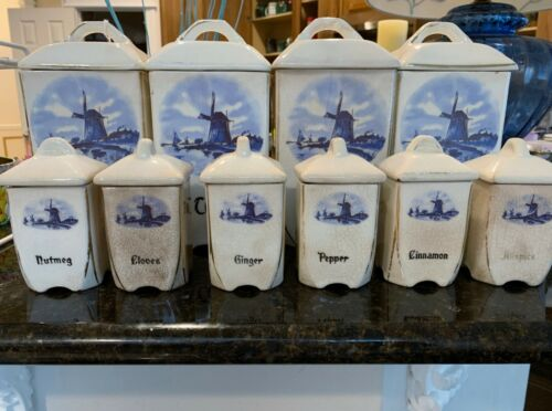 Antique Blue/White Delft style Cannister Set  Windmill Scene