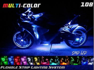 10x 108 LED Multi-Color 18 Colors Glow Light Strip Kit Universal Motorcycle