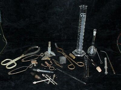 Huge Lot Vintage Glass Pyrex Coors Beakers Chemistry Medical Bunsen Burners