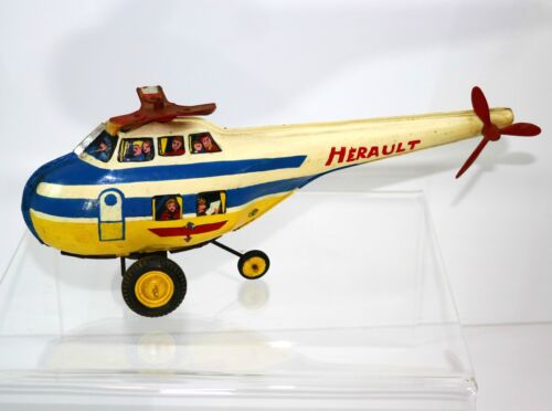 """Old French 13"""" Joustra Toy HELICOPTER Painted France Vintage 1930´s - 1960´s?"""