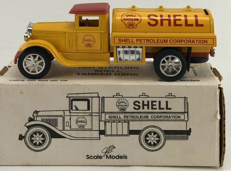 1931 Sterling Shell Gasoline Tanker DieCast Coin Bank GB-4099