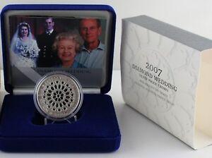 2007 Royal Mint Diamond Wedding Silver Proof Five Pound £5 Coin, COA, Box (2)