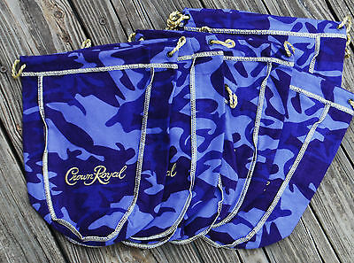 NEW LOT OF 10! Crown Royal Camo Purple Camouflage Felt Cloth Drawstring Bags