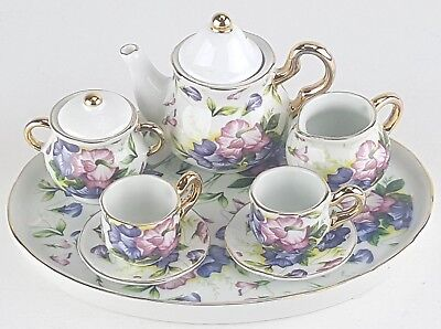 MINIATURE MORNING GLORIES PORCELAIN TEA SET TEAPOT SUGAR BOW
