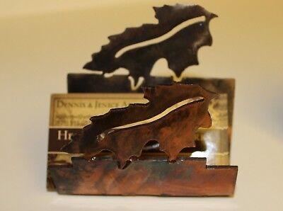 Western Metal Art Business Card Holder Leaf