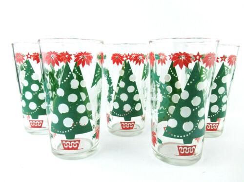 LOT OF 5 VINTAGE CHRISTMAS TREE BOSCUL PEANUT BUTTER GLASSES SWANKY SWIGS