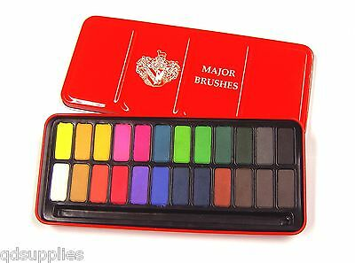 24 COLOUR WATERCOLOUR PAINTING ARIST PAINTS PANS TABLETS BLOCKS TIN SET Z-1003