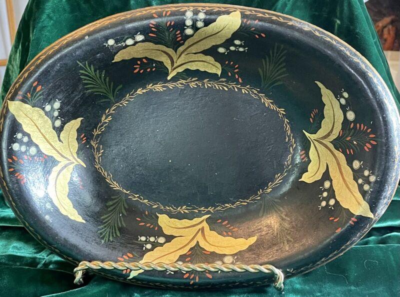 Antique Black Hand Painted Tole Toleware Metal Serving Bowl Artist Signature