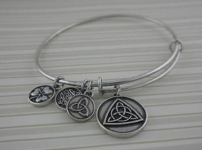 Irish Solvar Rhodium Plated Trinity Knot Bangle with Charms Bracelet Ireland