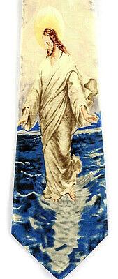 Miracle of Faith Mens Neck Religious Christian Jesus Walks Water Yellow Necktie
