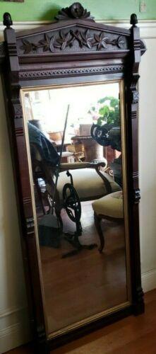 Antique Victorian Black Walnut Hall Mirror Circa 1880