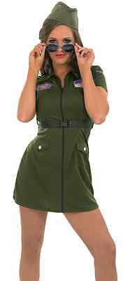 Ladies Sexy Army Aviator Armed Forces Fancy Dress Costume Outfit 8-26 Plus - Armed Forces Costumes