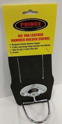 Prince Oil Tan Heavy-Duty Top Grain Leather Hammer  Holder Holster Swivel - Heavy Duty Top Grain