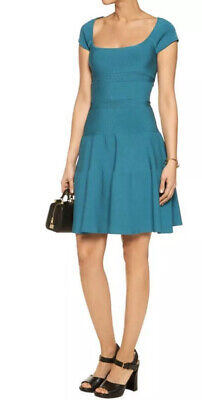 "Issa London Designer Teal ""Jenny"" Stretched Ribbed Dress Size L"