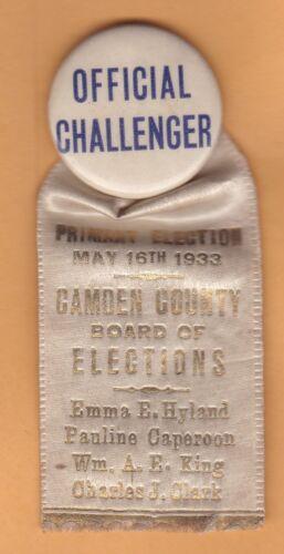 "1933 Camden Co. NJ, Board of Elections, 1.25"" pinback w/ ribbon, w/ names RARE"