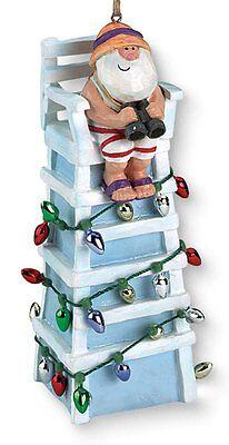 Tiki Ocean Beach Santa Lifeguard Christmas Ornament