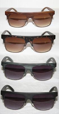 Sonnenbrille Flattop Herren Halbschale Holz Stil Super matt schwarz braun 678
