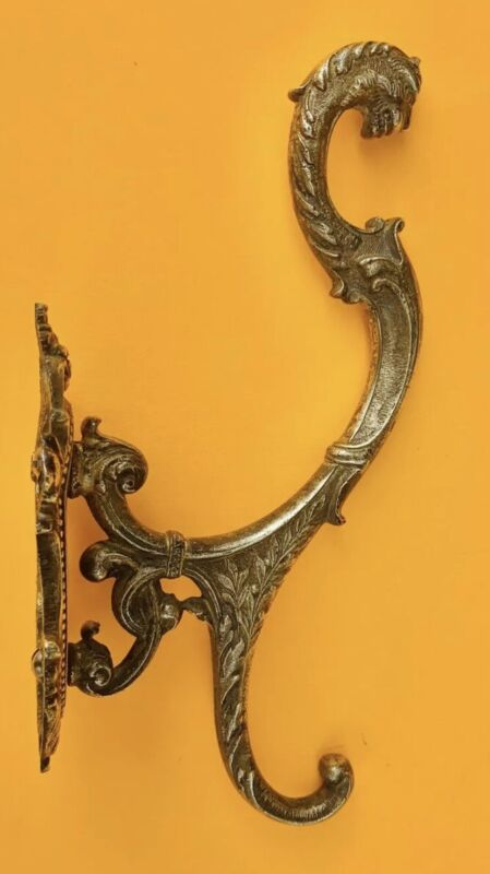 Brass Victorian Antique Architectural Hardware Lion Head Coat Hook Towel Hook