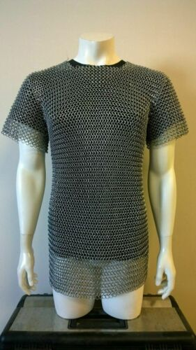 ALUMINIUM CHAINMAIL SHIRT BUTTED ALUMINUM CHAIN MAIL HAUBERGEON MEDIEVAL Gifts