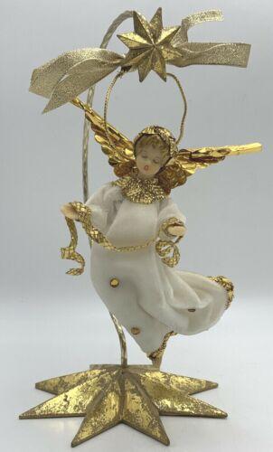 Vintage Wax Angel West Germany White Velvet Ornament Koestel