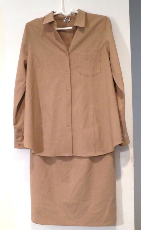 MIMI MATERNITY BROWN WOOL BLEND CAREER WEAR TO WORK SKIRT OUTFIT SET SZ S