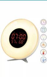 Wake Up Light Sunrise Simulation Alarm Clock 7 Sounds 5 Natural Colors Bedside