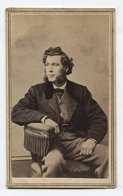 CDV YOUNG MAN WITH WILD CURLY HAIR AND MUTTONCHOP SIDEBURNS.SPRINGFIELD, MASS. - Muttonchop Sideburns