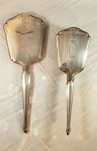 Antique International Sterling Silver Mirror and Brush Vanity Set  Art Deco