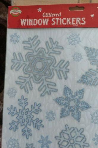 Job+lot+48+sheets+Glitter+Christmas+Window+Decorations+Stickers+Snowflake+Door