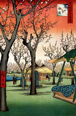 Japanese Landscape Art Hiroshige Kamada No Umezono A3 Canvas Print Framed