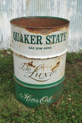 VINTAGE QUAKER STATE MOTOR OIL DRUM-BARREL ADVERTISING COLLECTIBLE OIL GAS