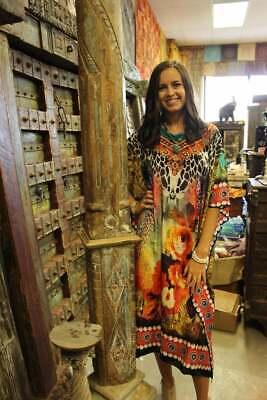 Boho Caftan Colorful Jewel Print Resort Wear Beach CoverUp IBIZA Kaftan Dress 3X