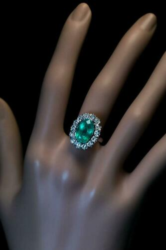 Mid-Century Vintage French Cut Emerald & Old White CZ 4.05TCW Halo Wedding Ring