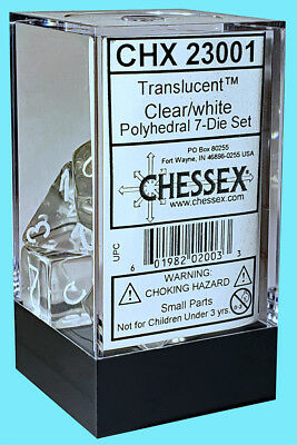CHESSEX 7 POLYHEDRAL DICE SET TRANSLUCENT CLEAR w/ WHITE NUMBERS CHX23001 rpg](Clear Dice)