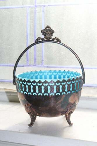 Antique Silverplate & Blue Opaline Glass Handled Candy Dish