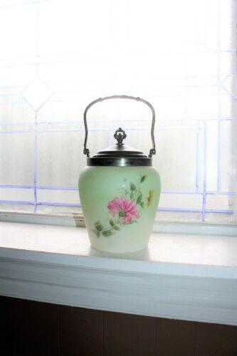 Antique Biscuit Jar Hand Painted Glass and Silverplate 1800s Victorian