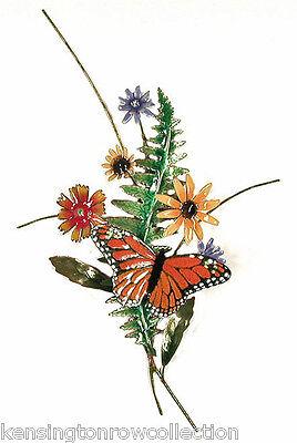 WALL ART - MONARCH BUTTERFLY & FLOWERS METAL WALL SCULPTURE - WALL DECOR Monarch Butterfly Decorations