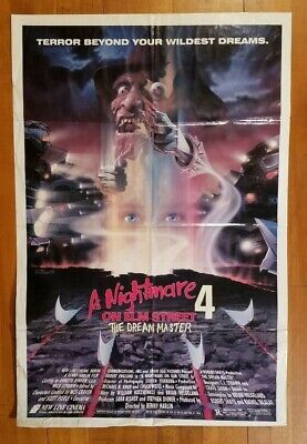 "A NIGHTMARE ON ELM STREET 4: DREAM MASTER 1988 27"" x 41"" 1-sheet movie poster 💀"