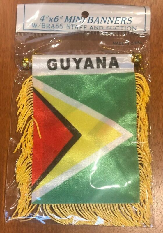 "Guyana 🇬🇾 4 X 6"" MINI BANNER FLAG CAR WINDOW MIRROR HANGING W Suction New"
