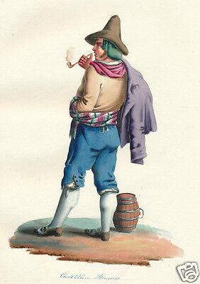1840 Rome Lazio Italy wheelwright man Salvatore Marroni HC engraving