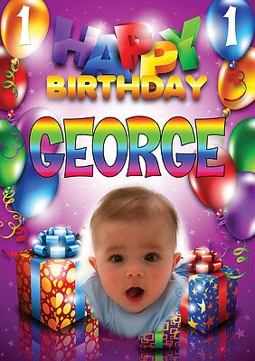 Personalized Balloons With Photo (LARGE KIDS BIRTHDAY POSTER BANNER PERSONALISED ANY NAME THEME TEXT WITH)